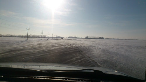 A typical Manitoba winter drive.  Burrr