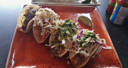 Carne Asada, Chicken Tinga, Pescada, Tequila Shrimp tacos