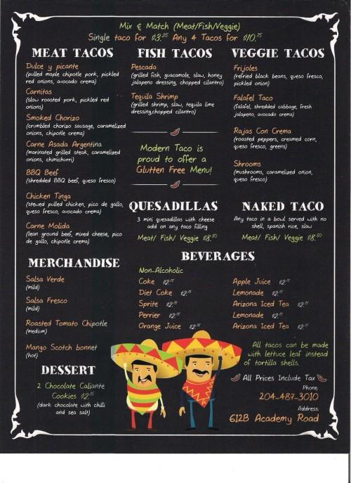 Modern Taco Company Menu