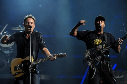Bruce Springsteen and Tom Morello Belt out The Ghost of Tom Joad. (Photo Credit - Rolling Stone)