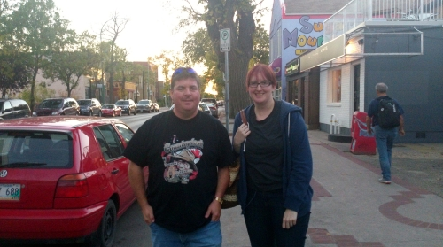 Suzanne and I with Darlene enjoying a nice evening stroll on Corydon Ave.
