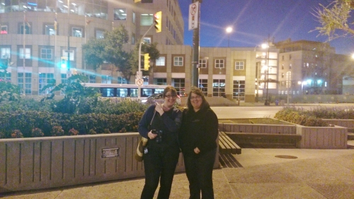 Darlene and Suzanne ham it up for the camera at Portage and Main.
