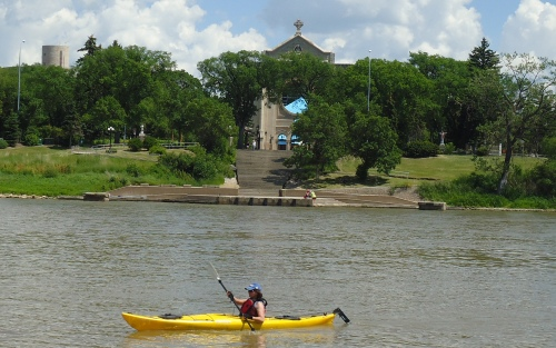 St. Boniface Cathedral from the Red River.