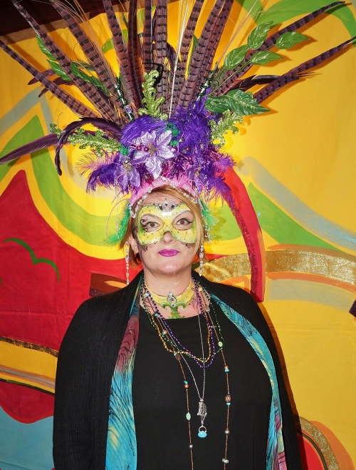 Even Country Girls like Mardi Gras. Leanne The Boss Lady Cater in full plumage at Mardi Gras Media Night